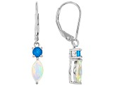Multicolor Ethiopian Opal Rhodium Over Sterling Silver Earrings .85ctw