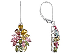 Multi color Tourmaline Rhodium Over Silver Earrings 3.35ctw