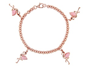 Pink Opal 18k Rose Gold Over Silver Bracelet