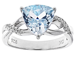 Blue Topaz Rhodium Over Sterling Silver Ring 2.86ctw