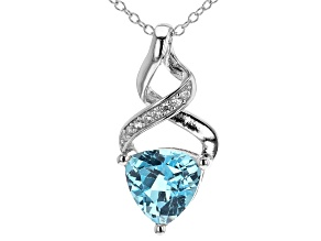 Blue Topaz Rhodium Over Silver Pendant With Chain 2.88ctw