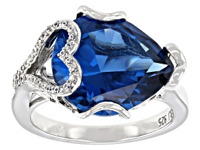 Blue Lab Created Spinel Rhodium Over Silver Ring 7.97ctw