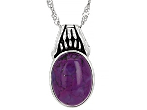 Purple Turquoise Sterling Silver Slide/Pendant With Chain