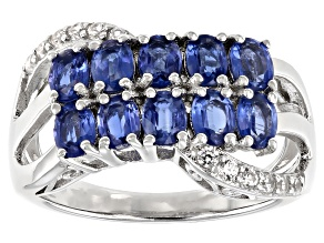 Blue Kyanite Rhodium Over Sterling Silver Ring 1.95ctw