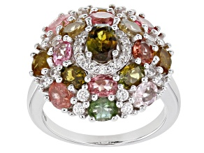 Multi-Tourmaline Rhodium Over Silver Ring 3.42ctw