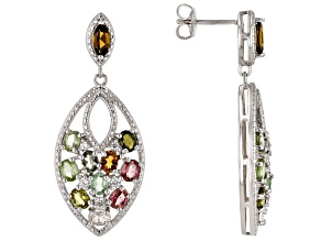 Multi-Color Tourmaline Rhodium Over Silver Earrings 3.60ctw