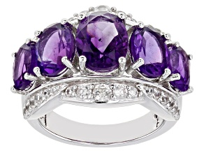 Purple Amethyst Rhodium Over Silver Ring 5.38ctw