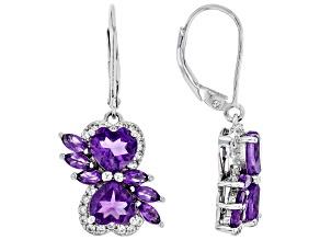 Purple Amethyst Rhodium Over Sterling Silver Earrings 3.70ctw