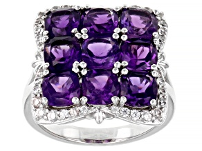 Purple Amethyst Rhodium Over Sterling Silver Ring 4.27ctw