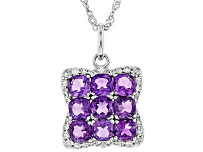 Purple Amethyst Rhodium Over Silver Pendant With Chain 2.66ctw