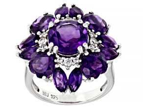 Purple Amethyst Rhodium Over Sterling Silver Ring 6.08ctw