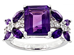 Purple Amethyst Rhodium Over Sterling Silver Ring 3.16ctw