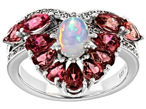 Multicolor Ethiopian Opal Rhodium Over Sterling Silver Ring 2.33ctw