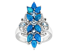 Pear Shape Blue Opal, Swiss Blue Topaz & Zircon Rhodium Over Silver Ring 1.79ctw