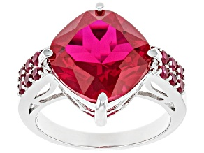 Red Lab Created Ruby Rhodium Over Sterling Silver Ring 8.15ctw