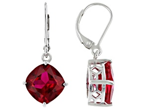 Red Lab Created Ruby Rhodium Over Silver Earrings 10.20ctw