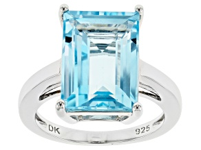 Blue Topaz Rhodium Over Sterling Silver Ring 8.16ct