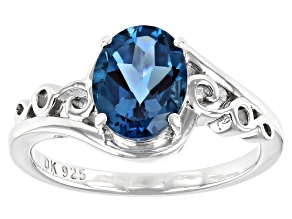 Blue Topaz Rhodium Over Sterling Silver Ring 1.96ct