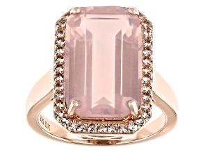 Pink Rose Quartz 18k Rose Gold Over Sterling Silver Ring 7.22ctw