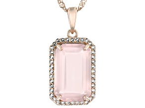 Pink Rose Quartz 18k Rose Gold Over Sterling Silver Pendant With Chain 7.22ctw
