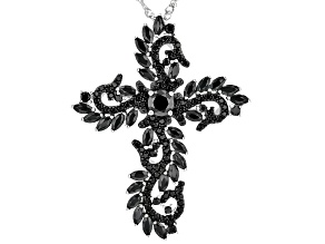 Black Spinel Rhodium Over Sterling Silver Pendant With Chain 3.51ctw.