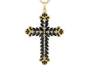 Black Spinel 18K Yellow Gold Over Sterling Silver Cross Pendant With Chain 2.66ctw