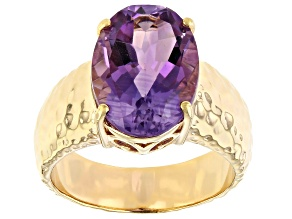 Purple Amethyst 18k Yellow Gold Over Silver Ring 4.68ct