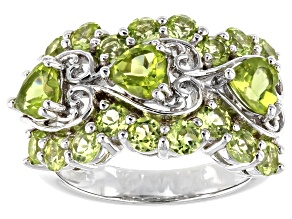 Green Peridot Rhodium Over Silver Ring 3.25ctw