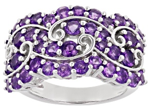 Purple Round African Amethyst Rhodium Over Sterling Silver Ring 2.13ctw