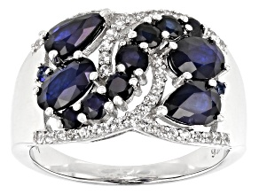 Blue Sapphire Rhodium Over Sterling Silver Ring 2.64ctw