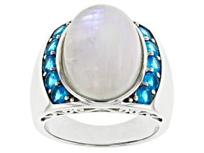 White Rainbow Moonstone Rhodium Over Silver Ring 1.02ctw