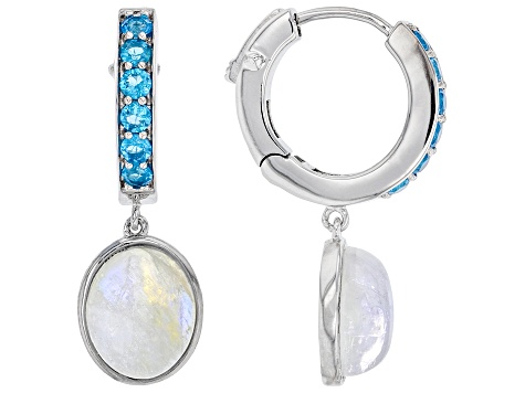 White Rainbow Moonstone Rhodium Over Silver Earrings .50ctw