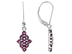 Pink Malaya Garnet Rhodium Over Silver Earrings 1.25ctw