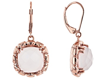 Picture of Pink Rose Quartz 18k Rose Gold Over Sterling Silver Earrings.