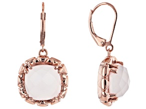 Pink Rose Quartz 18k Rose Gold Over Silver Earrings.