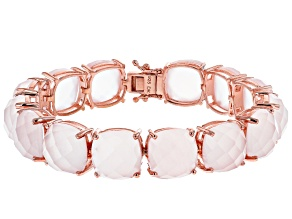 Pink Rose Quartz 18k Rose Gold Over Sterling Silver Bracelet