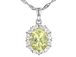 Yellow Apatite Rhodium Over Silver Pendant With Chain 3.11ct