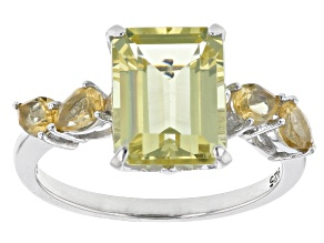 Yellow Apatite Rhodium Over Sterling Silver Ring 3.60ctw
