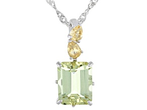 Yellow Apatite Rhodium Over Sterling Silver Pendant With Chain 3.38ctw
