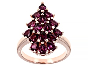 Raspberry Color Rhodolite 18k Rose Gold Over Silver Ring 2.40ctw