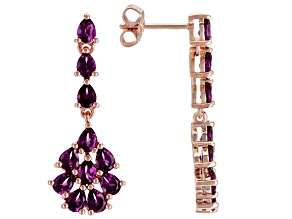 Purple Raspberry Color Rhodolite 18k Rose Gold Over Silver Earrings 3.74ctw