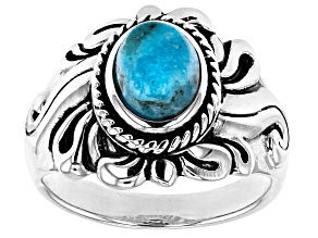Blue Turquoise Oxidized Solitaire Sterling Silver Ring Oval Cabochon