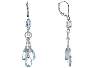 Blue Topaz Rhodium Over Sterling Silver Chandelier Earrings 7.89ctw