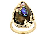 Multi-Color Abalone Shell 18k Gold Over Silver Ring