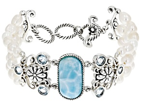 Blue Larimar Rhodium Over Sterling Silver Bracelet 2.52ctw