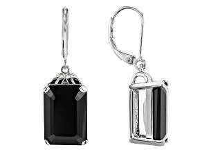Black Spinel Rhodium Over Sterling Silver Earrings 13.28ctw
