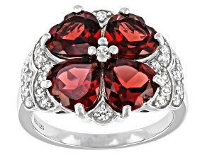 Red Garnet Rhodium Over Silver Ring 4.90ctw