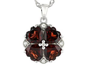 Red Garnet Rhodium Over Silver Pendant With Chain 4.51ctw