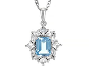 Blue Topaz Rhodium Over Sterling Silver Pendant With Chain 3.59ctw