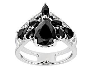 Black Spinel Rhodium Over Sterling Silver Chevon Ring 3.06ctw